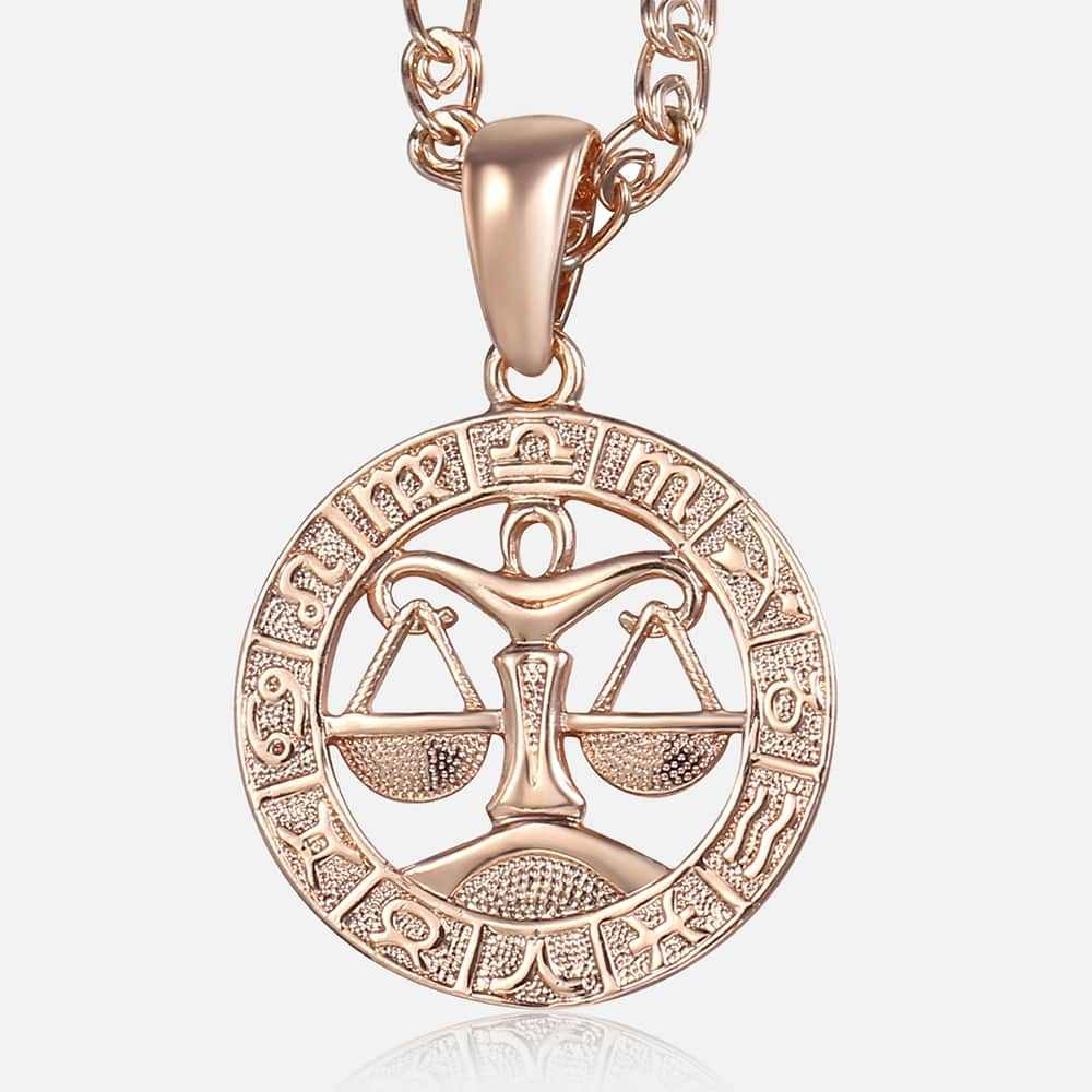Libra Zodiac Sign Necklace For Women Men 585 Rose Gold Pendant Necklace Women's Fashion Jewelry Personal Birthday Gifts GP279