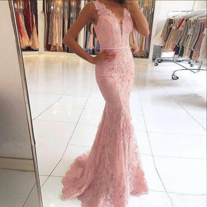 Vestidos De Fiesta Largos De Gala 2019 Elegant V Neck Illusion Back Mermaid Evening Dress Pink