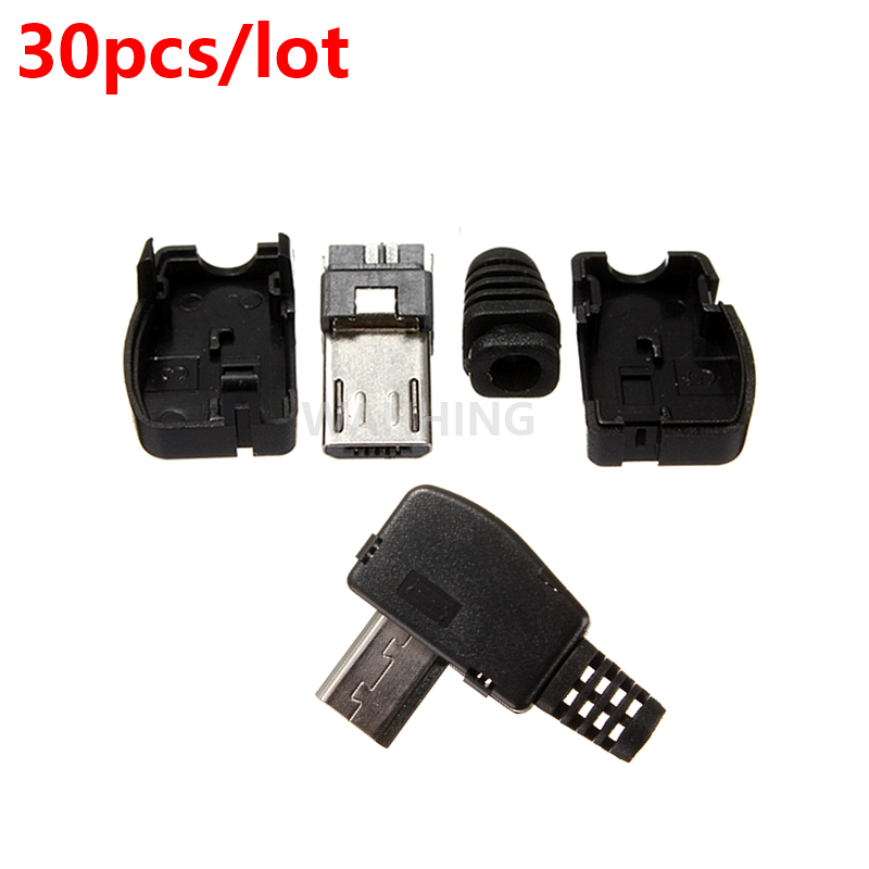 30pcs/lot New Plastic Right Angle Micro USB 5Pin 5P Port Metal Male Plug Socket Connector With Plastic Cover HY1418*30 20 pcs mini usb plug male socket connector 5 pin plastic