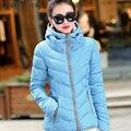 O envio gratuito de 2017 de Moda de Nova Down & Parkas Casaco de Inverno Mulheres Luz de Inverno de Espessura Quente Jaqueta Com Capuz Feminino Outerwear 30hfx