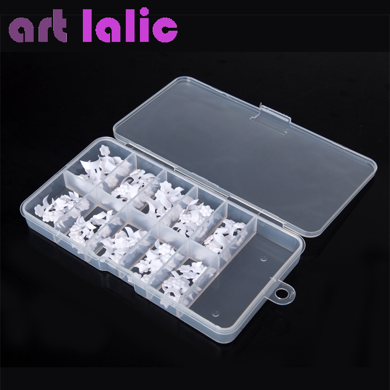 Artlalic 100 Pcs 10 Ukuran Palsu Pra Desain Putih French UV Gel Acrylic Nail Art Tips Makeup Alat