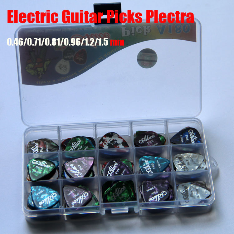 180pcs Alice Box-packed High Quality Celluloid Acoustic Electric Guitar Picks Plectra 0.46/0.71/0.81/0.96/1.2/1.5mm 100pcs acoustic electric guitar picks parts acoustic celluloid plectrum multi 0 46 0 71mm classical guitar pick