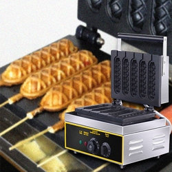 5 Sticks Electric Muffin Waffle Hot Dog Machine Commercial Non-stick Lolly Waffle Maker Sausage Gas Crispy Making Machine