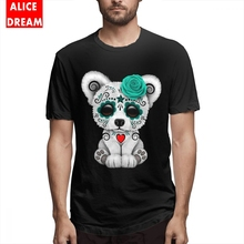 Blue Day Of The Dead Sugar Skull T Shirt Polar Bear Tee For Men Vintage Organic Cotton BONADIAO T-shirt