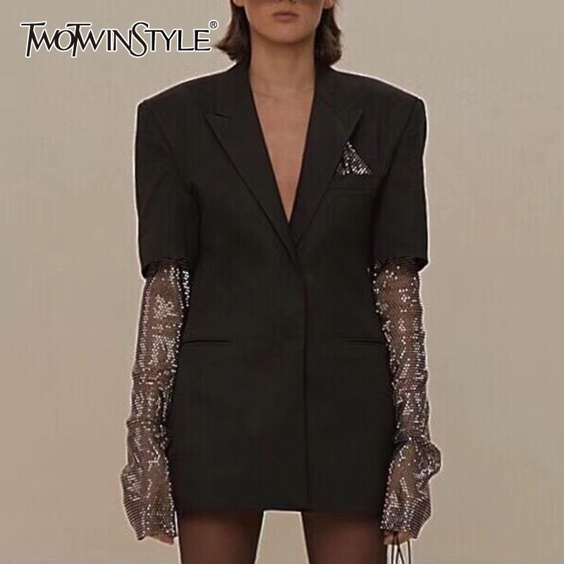 TWOTWINSTYLE Summer Solid Blazer For Women Long Sleeve Diamond Patchwork Long Elegant Coat Female Fashion Clothing 2020 New