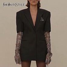 TWOTWINSTYLE Summer Solid Blazer For Women Long Sleeve Diamond Patchwork Long Elegant Coat Female Fashion Clothing 2020 New