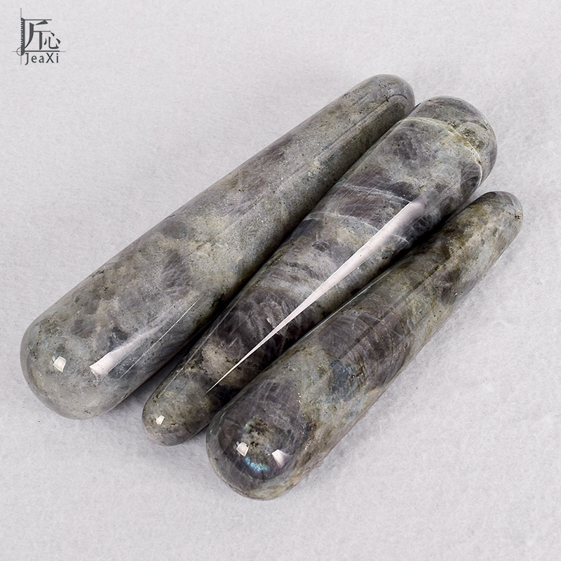 Natural Crystal labradorite massage wand Relaxing wand acupoint point stick reiki healing stone body chakra  massage top 967 beautiful color labradorite ashtray 009