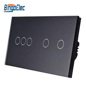 Image 2 - Bingoelec Eu Standrad 5G 1/2 Way Muur Light Touch Screen Switch Wit Zwart Goud Crystal Panel Touch Schakelaar, AC110 250V 86*157 Mm