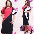 Большой размер 6XL 2016 Жира ММ Женщины одеваются Летнее Платье Элегантный Свободные лоскутные платья плюс размер женская одежда 6xl платье
