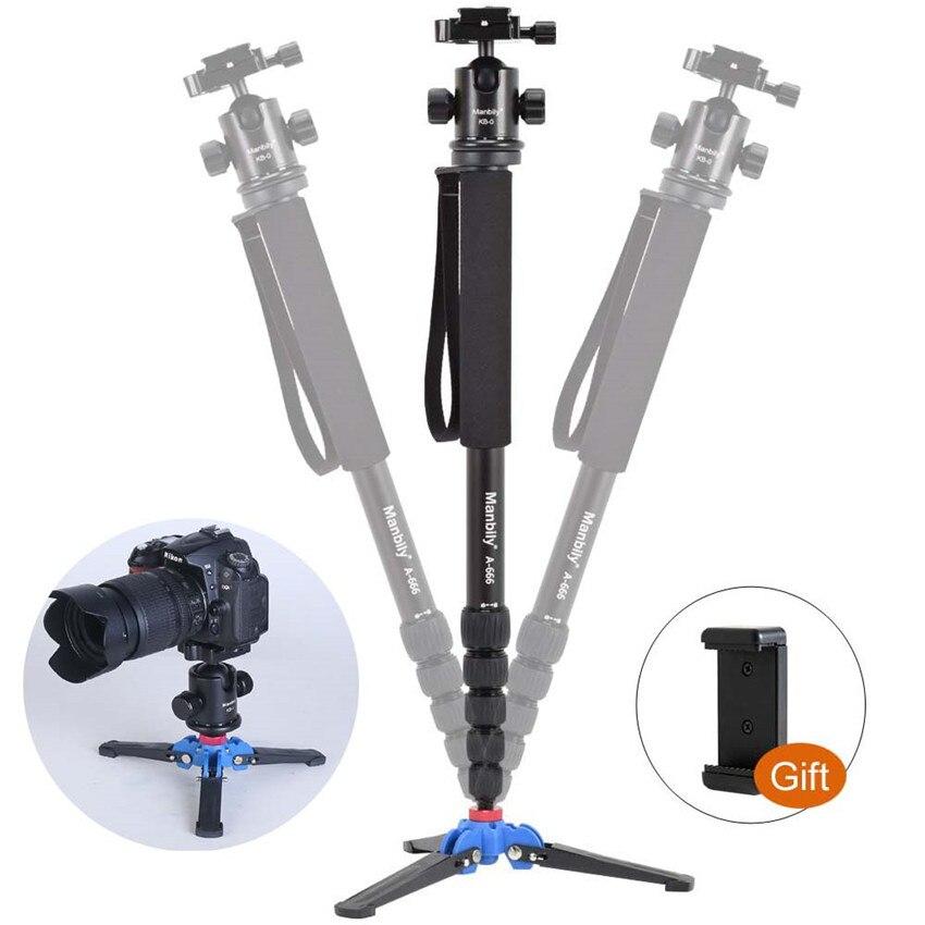 Manbily A-666 professionnel Portable voyage DSLR caméra monopode trépied support, KB-0 tête à billes, Base de support M2, hauteur Max 1.8m