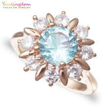 Jewelry Accessories - Fashion Jewelry - Yunkingdom 2 Colors Crystals Rings Wholesale High Quailty Fashion Flower Jewelry Women