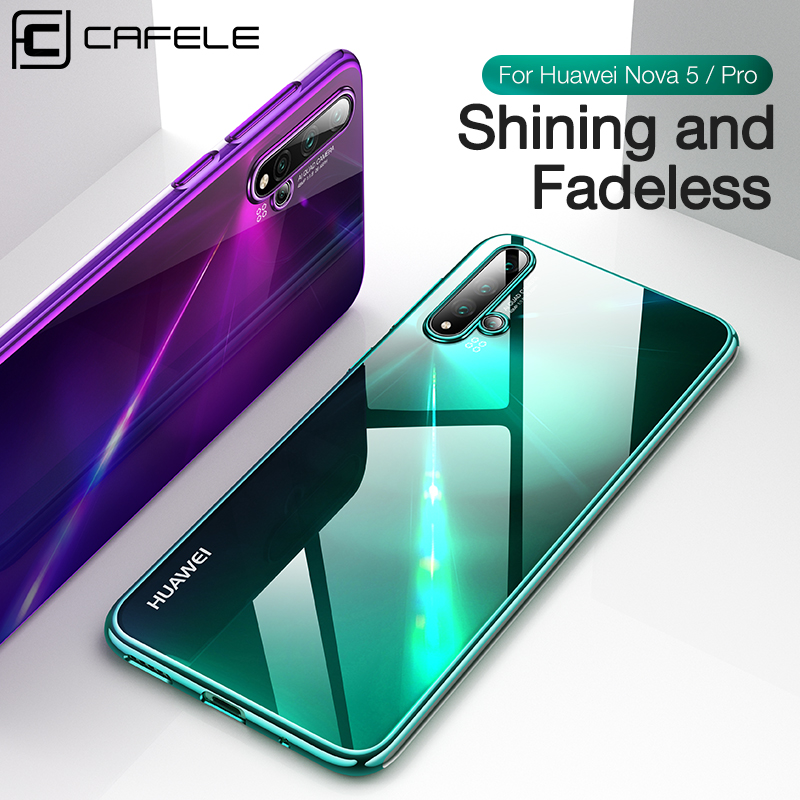 Cafele Fashion Phone Case For Huawei Nova 5 5pro Plating Cover Nova5 pro HD Clear Transparent Soft TPU Silicone