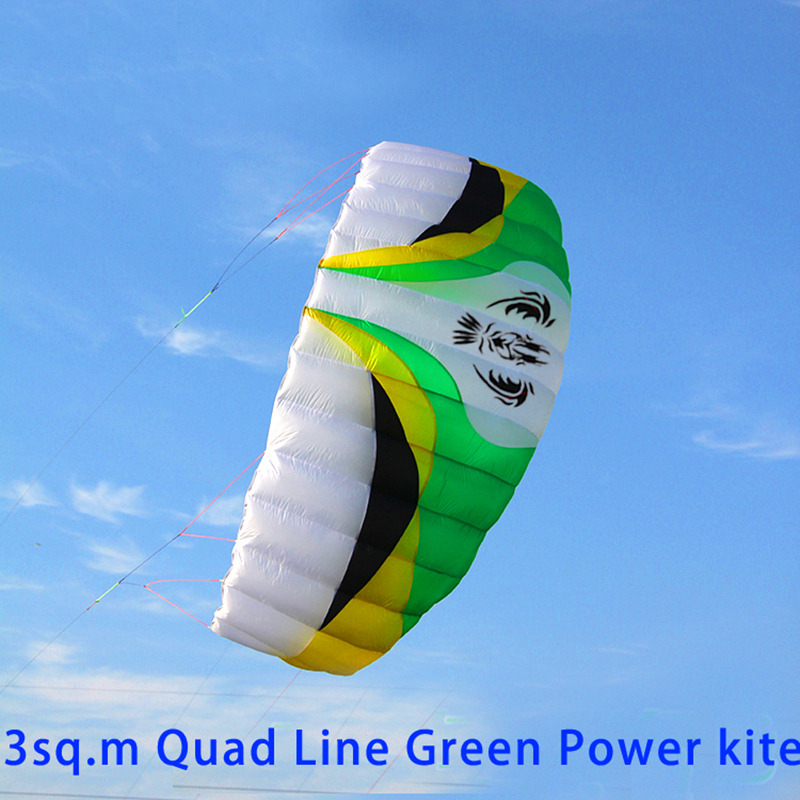 free shipping high quality 3 square meters quad line parafoil kite board ripstop nylon kite sports with control bar albatross 2 5m huge dual line control soft frameless stunt parafoil flying kite plaid cloth made with 2 line board and 2 x 40m line