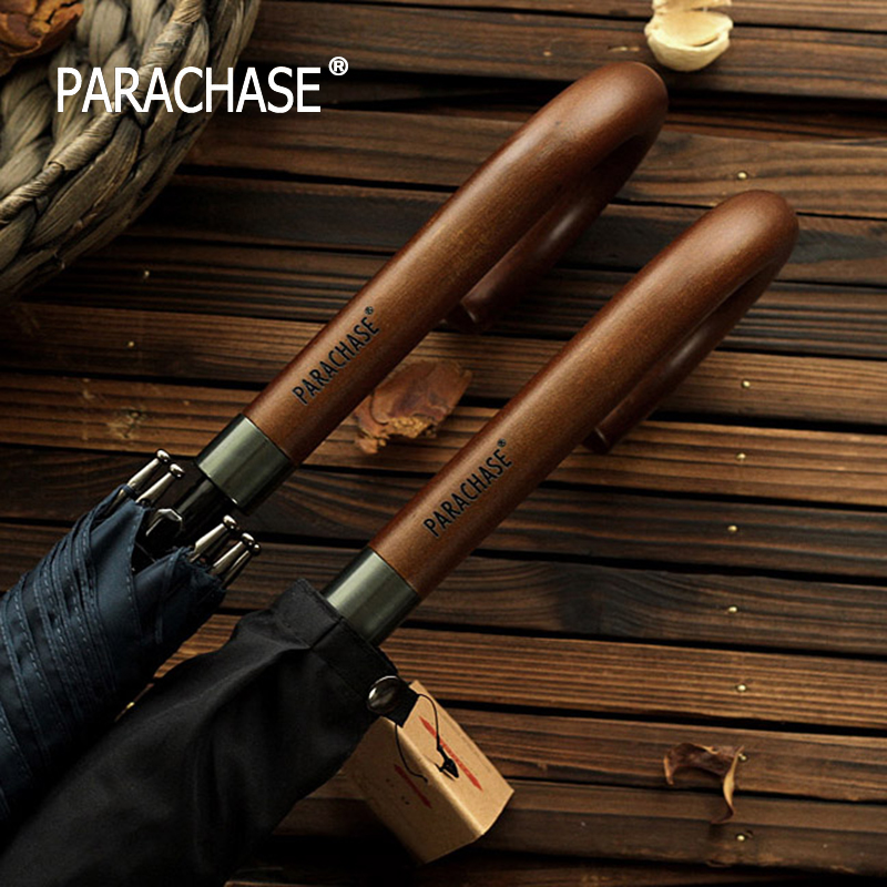 New Arrival Japanese Brand Long Umbrella 8K Windproof Wooden Handle Large Men Umbrellas Rain Quality Classic