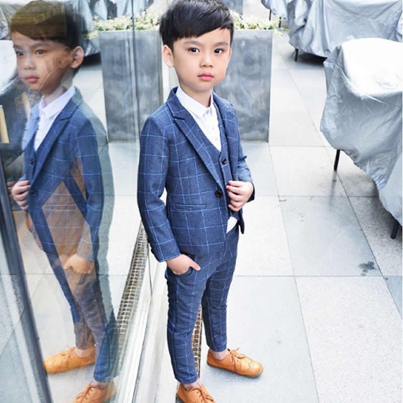 цена на boy suit han edition child suit three-piece suit children's dress boy blazers pants coat vest marry Leisure Suit set