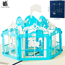 Buy exclusive birthday cards and get free shipping on aliexpress exclusive merry go round artesanato laser cut out 3d pop up origami greeting cards bookmarktalkfo Image collections