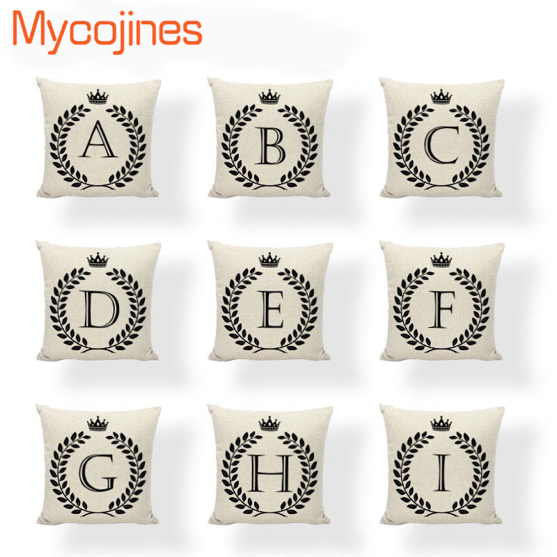 Cheap Letter Alphabet Cushion Covers Euro Throw Pillow