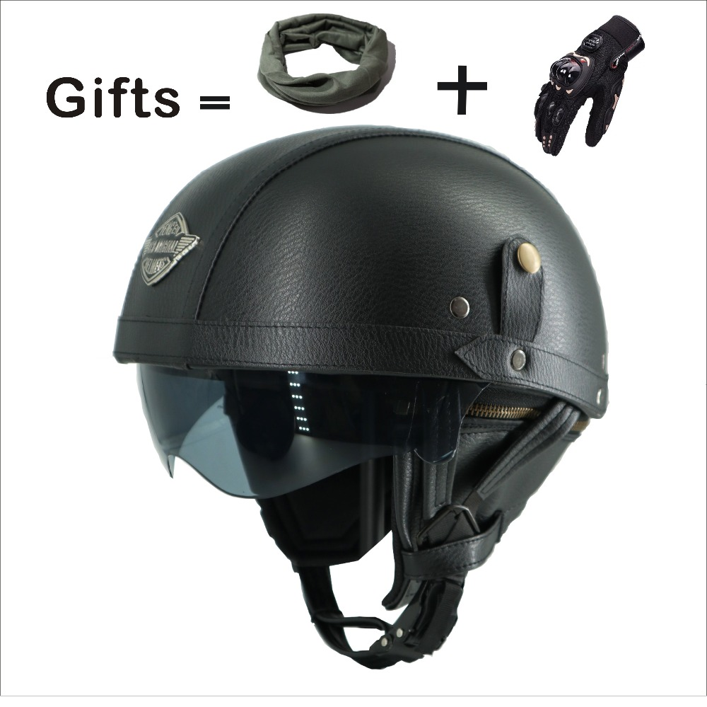 Adult Motorcycle Vintage Harley PU Leather sun visor and Retractable GoggleDetachable Warm Collar Buy 5 helmets and send a helme свеча ароматизированная sima land вишня высота 15 см