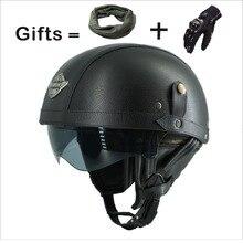 Взрослых мотоцикл Винтаж Harley из искусственной кожи козырек от солнца и выдвижной GoggleDetachable теплый воротник купить 5 шлемы и отправить helme