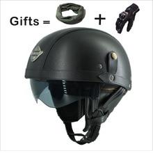 Adult Motorcycle Vintage Harley PU Leather sun visor and Retractable GoggleDetachable Warm Collar Buy 5 helmets send a helme