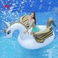 5 teile/los 250cm 98 zoll Riesigen Aufblasbaren Regenbogen Einhorn Wasser Pool Schwimmt Weiß Pegasus Float Schwimmen Luft Matratze Bett Rettungsring Sport und Unterhaltung -