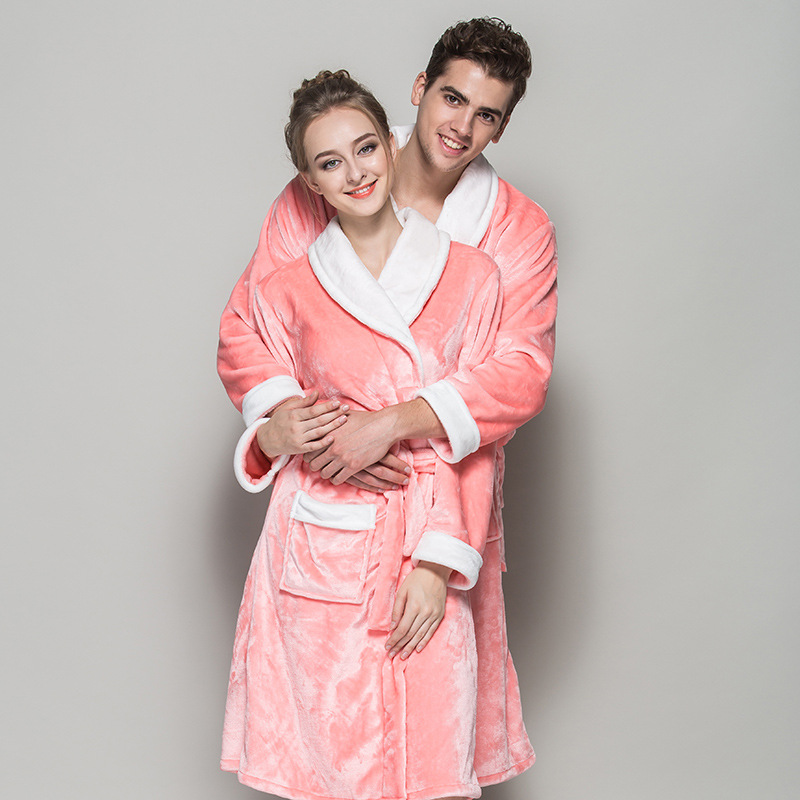 new lovers bathrobes couple sleepwear warm nightwear robe femme flannel nightgown women long sleeve kimono - Flannel Nightgowns