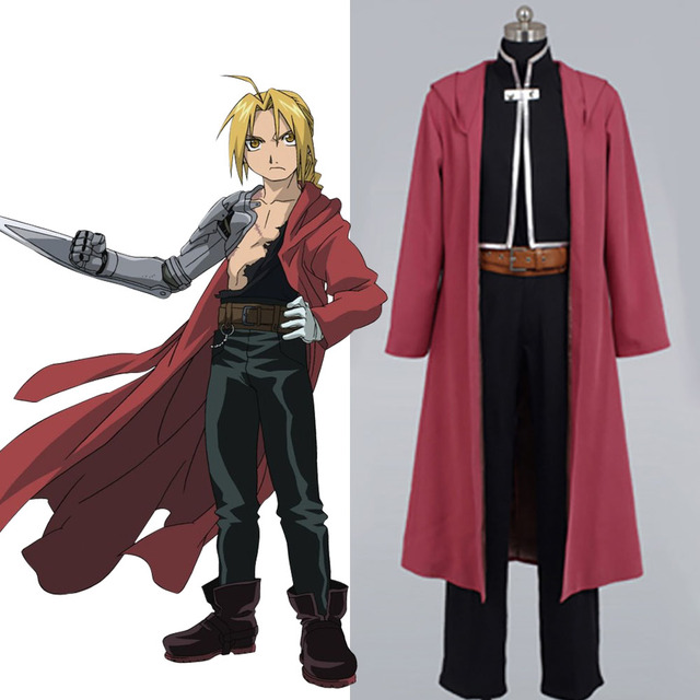 FullMetal Alchemist Edward Elric Cosplay Halloween Christmas Cosplay Costume  For Adult Men Cloak Outfit Coat Free