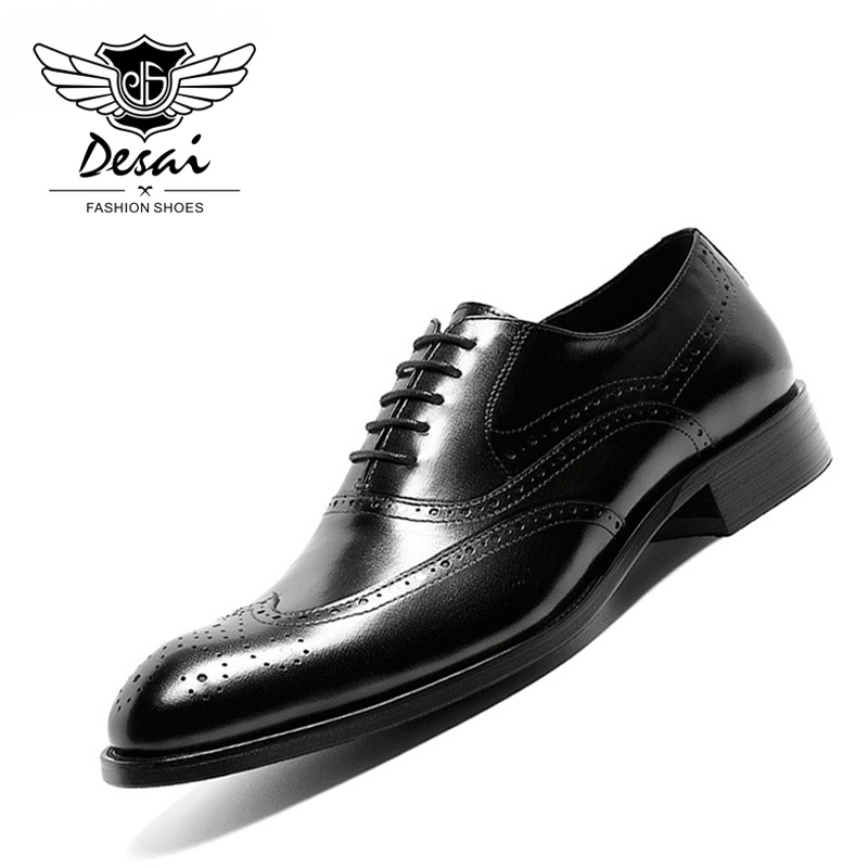 DESAI 2019 New Genuine Leather Shoes Men s High end Business Dress Top Layer Cow Leather