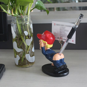 Image 4 - Trump Pen Holder Desk Decor Pen insertion With business card holder Shaking head cartoon doll as gift funny