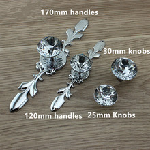 Glass Dresser Knobs Crystal Drawer Pulls Handle Silver Chrome Clear Rhinestone Cabinet Door BackPlate glass diamond