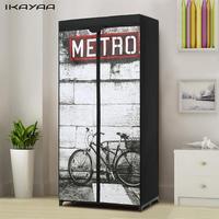 IKayaa Fashion Portable Fabric Closet Wardrobe Cabinet Clothing Storage Organizer Clothes Hanger Rack With Shelves DE