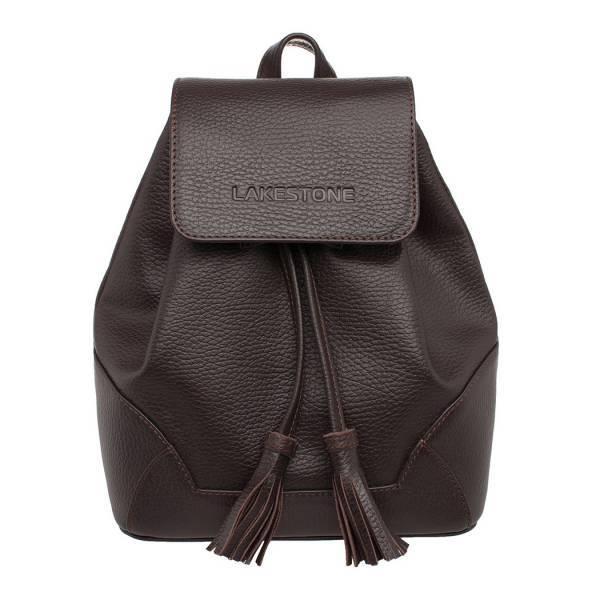 Маленький женский кожаный рюкзак LAKESTONE  CLARE  BROWN