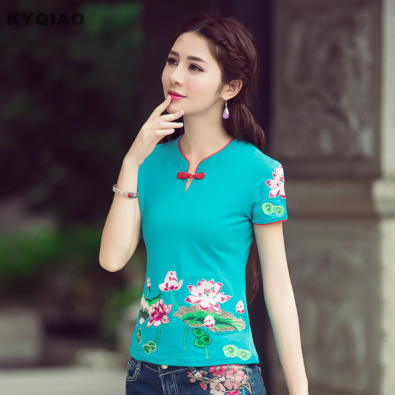 KYQIAO Plus Size Women Shirts Chinese Traditional Embroidery Tops Ethnic Women Shirts Blue Orange Black White Red Floral T Shirt