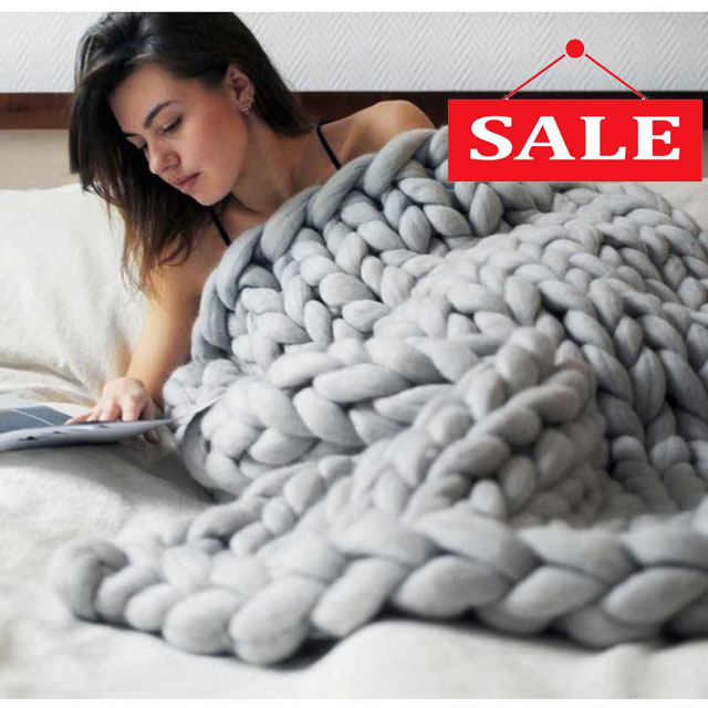 Soft Thick Line Giant Yarn Knitted <font><b>Blanket</b></font> Handmade Weaving Photography Props CrochetLlinen <font><b>Blankets</b></font> Home Decor Sofa <font><b>Blanket</b></font>