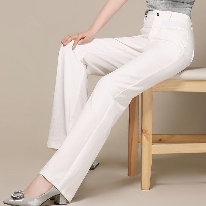2018 spring summer Women cotton linen   pants     wide     leg     pants   female high waist elastic casual trousers