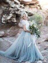 Elegante Spitze Lange Abendkleid mit Ärmeln 2016 Frauen Blau tüll Ballkleid Vestidos Fließende Abschlussball-partei-kleid Vestido De Festa