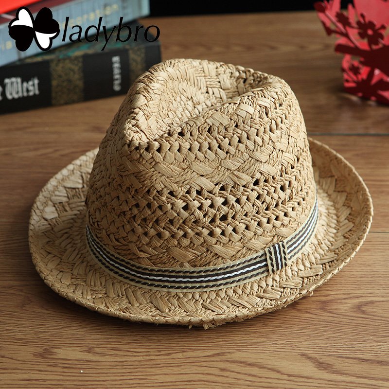 9aa27d50c4af Foldable Summer Straw Hat Wide Brim Fedora Sun Beach Hat Men Casual ...