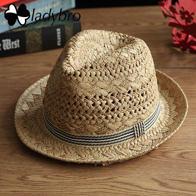 b0854886 Ladybro Summer Panama Hat Men Beach Sun Hat Women Jazz Straw Hat Casual Cap  Male Ribbon Fedora Female Visor Cap Chapeu Feminino
