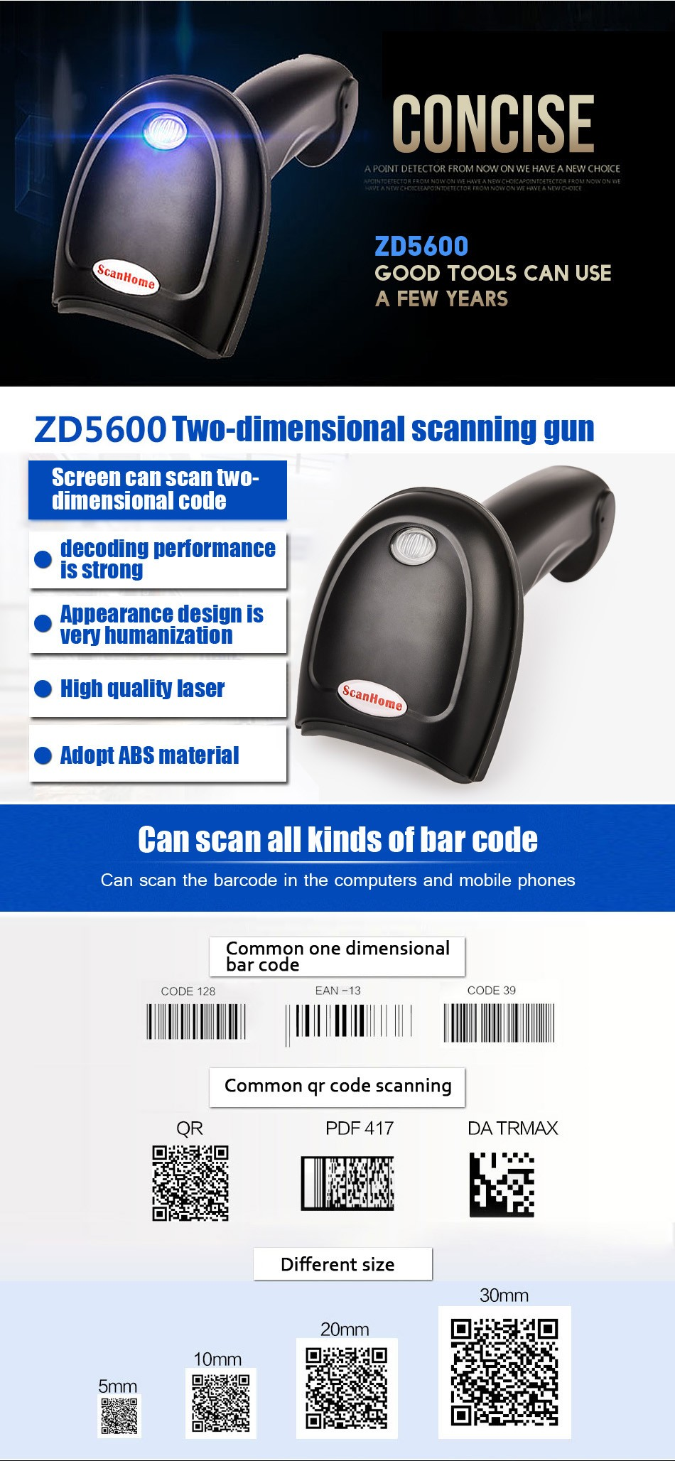 2d handheld scanner de código de leitor