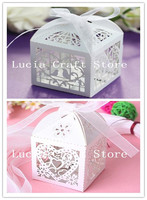 Lucia Craft 2pcs Colorful Laser Cut Wedding Box Pearlscent Candy Paper Bags Wedding Party Candies Gifts 24020018