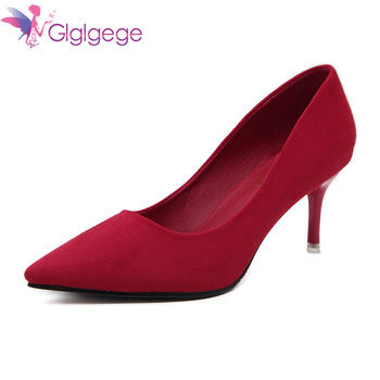 Glglgege 2018 Best Quality Big Size 36-41 Thin Heels Elegant Spring Career Office Shoes Woman Pumps Party OL Suede women's Shoe