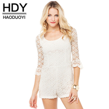 HDY Haoduoyi Fashion Solid Color Women Rompers Flare Sleeve Crew Neck Backless Sheer Playsuits Women Zipper Slim Casual Rompers недорго, оригинальная цена