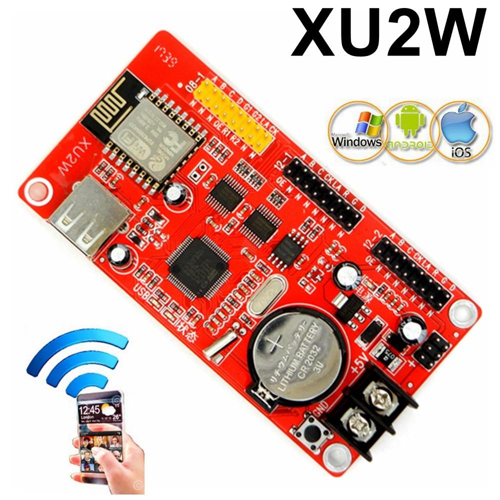 цена на Kaler XU2W wifi control card 512*32 pixels wifi+USB LED Panel Module LED sign controller support PC,phone,Pad sending message