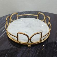 Nordic Light Luxury Natural Marble Tray Round Metal Frame Storage Kitchen Living Room Tabletop Decoration  Bead