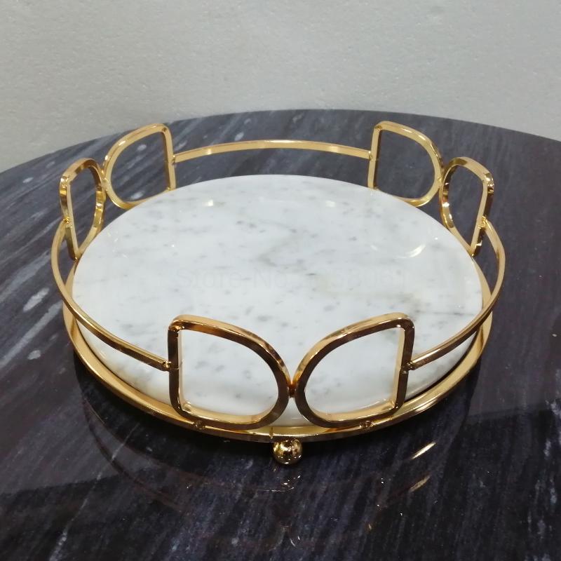 Nordique lumière luxe marbre naturel plateau rond métal cadre stockage plateau cuisine salon table décoration perle stockage