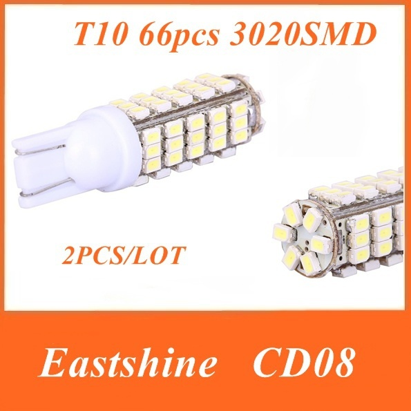 2pcs/lot Eastshine CD08 T10 12V 3.5W 66pcs 3020 SMD 360Lumens White colour  LED Car Headlight  led canbus