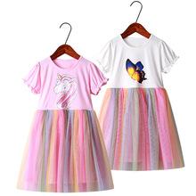New Screen unicorn dress Girl cute princess dress sleeveless round neck girl party dress baby girl clothes Dress for Kids Girls