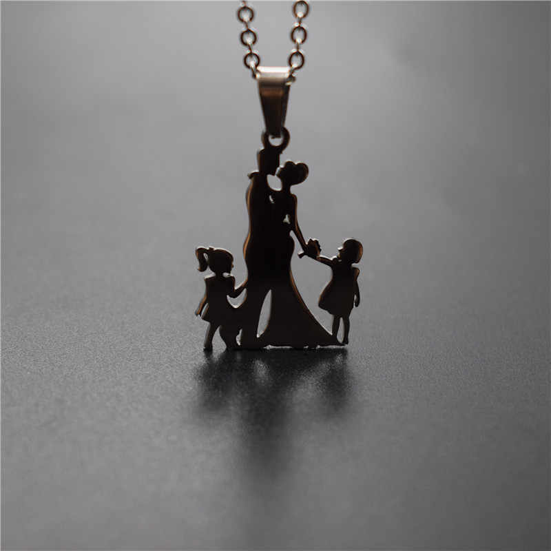 New Family Necklace Stainless Steel Lovers Couple Pendant Necklace Parents Hands With Girl and Boy Necklace Figure Jewellery