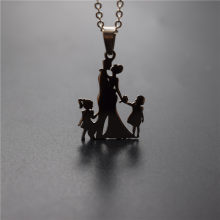New Family Necklace Stainless Steel Lovers Couple Pendant Necklace Parents Hands With Girl and Boy Necklace Figure Jewellery(China)