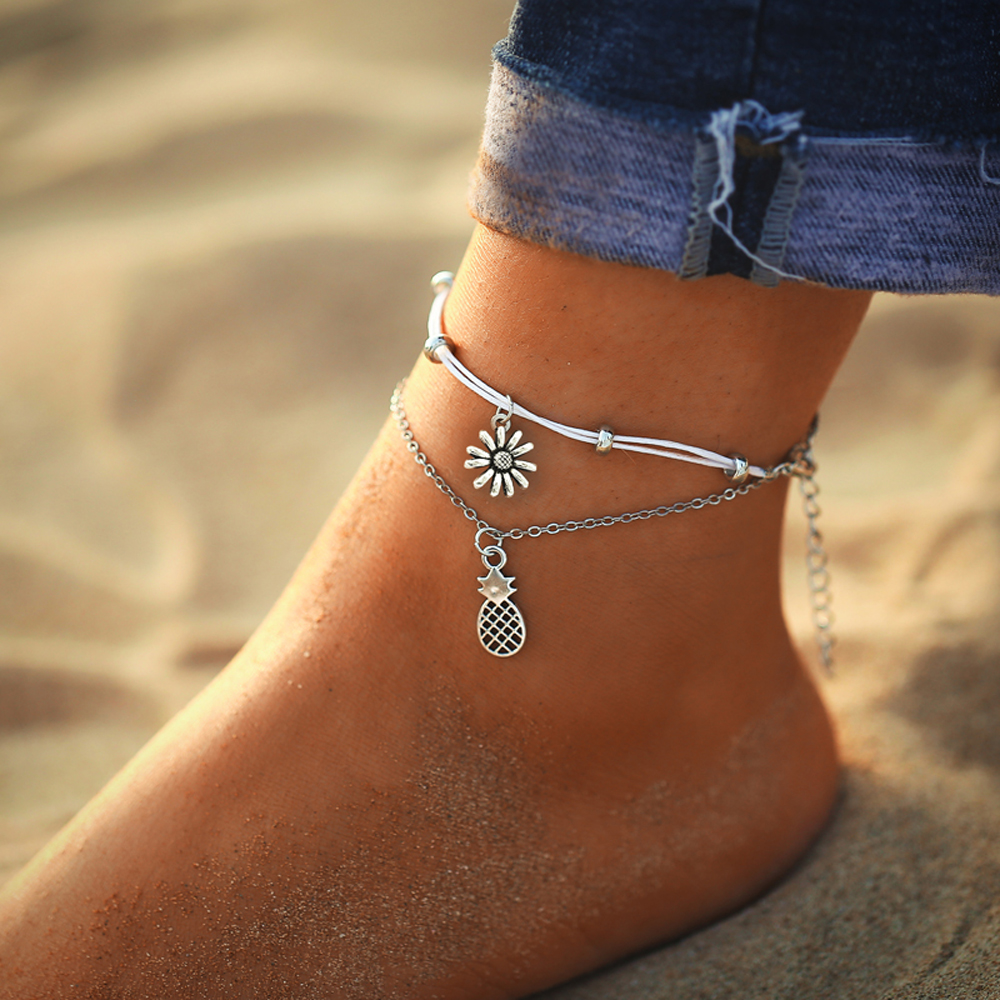 IF ME Bohemian Vintage Silver Color Flower Anklets for Women Multilayer Beach Bracelet on Leg Ankle Foot Female Jewelry 2019 NEW 1